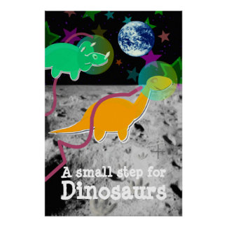 Dinosaurs on the Moon Poster Print