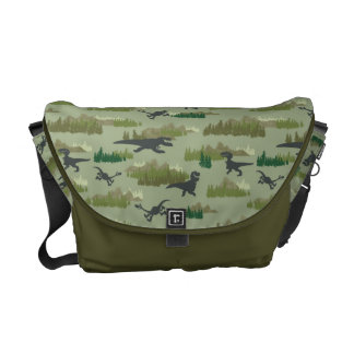Dinosaurs Running Camo Pattern Courier Bag