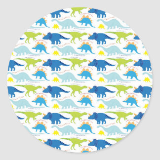 Dinosuar Designs Blue and Green Pattern Dino Gifts Classic Round Sticker