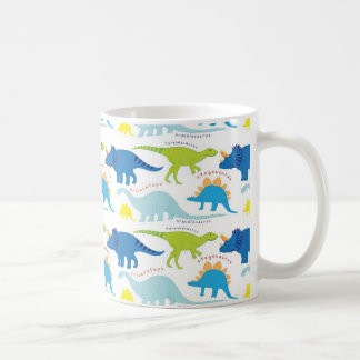 Dinosuar Designs Blue and Green Pattern Dino Gifts Coffee Mug