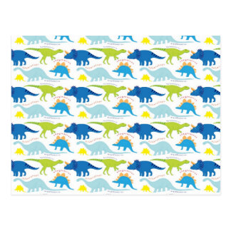 Dinosuar Designs Blue and Green Pattern Dino Gifts Postcard