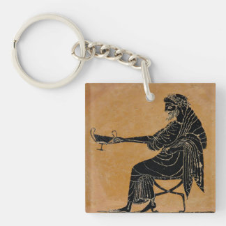 Dionysus with Wine Cup Double-Sided Square Acrylic Key Ring