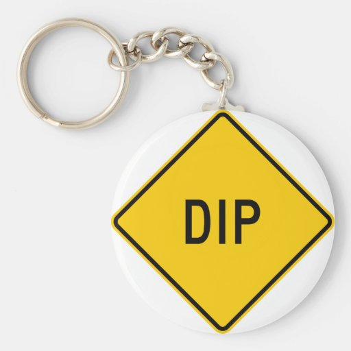 Dip Highway Warning Sign Basic Round Button Key Ring