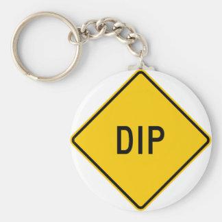 Dip Highway Warning Sign Key Ring