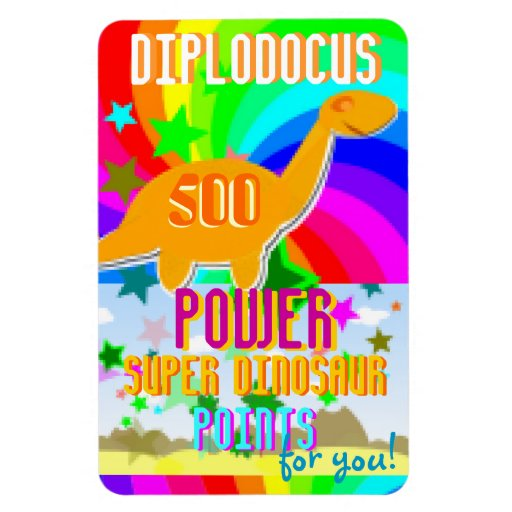 Diplodocus 500 Power Super Dinosaur Points for You Magnets