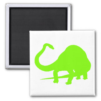 Diplodocus Silhouette (Green) 2 Inch Square Magnet