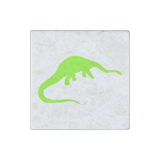 Diplodocus Silhouette (Green) Stone Magnet