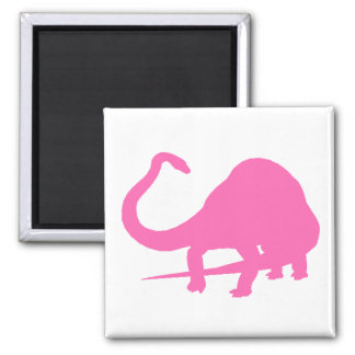 Diplodocus Silhouette (Pink) 2 Inch Square Magnet