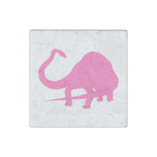 Diplodocus Silhouette (Pink) Stone Magnet