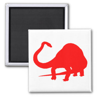 Diplodocus Silhouette (Red) 2 Inch Square Magnet