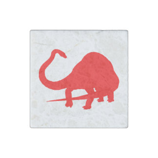 Diplodocus Silhouette (Red) Stone Magnet