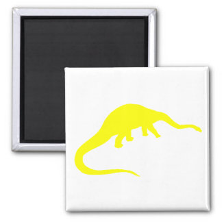 Diplodocus Silhouette (Yellow) 2 Inch Square Magnet