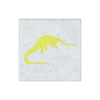 Diplodocus Silhouette (Yellow) Stone Magnet