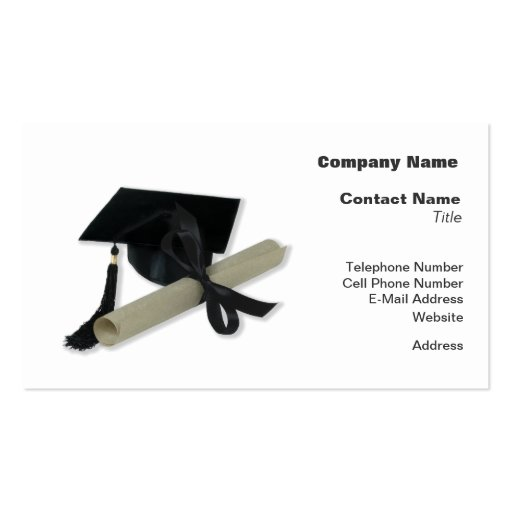 Diploma and Graduation Cap ( Mortar Board ) Pack Of Standard Business Cards
