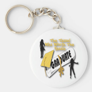 Diploma Gold Grad Cap (Female) Key Chains