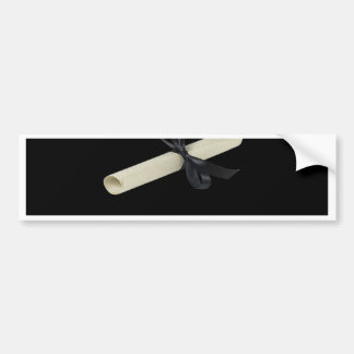 Diploma on Black with Damask Design Trim Bumper Sticker