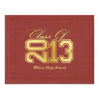 Diploma Themed Red & Gold Class of 2013 Graduation Card