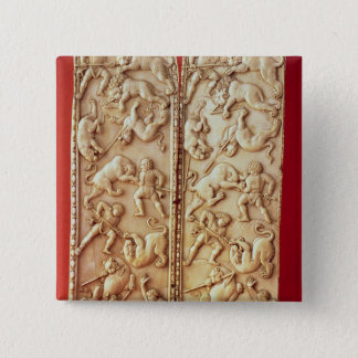 Diptych with a lion hunting scene 15 cm square badge