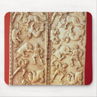 Diptych with a lion hunting scene mouse mat