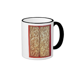 Diptych with a lion hunting scene ringer mug