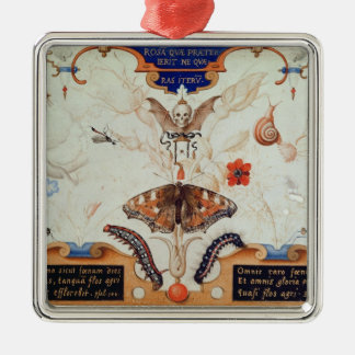Diptych with flowers and insects, 1591 Silver-Colored square decoration