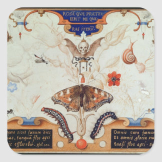 Diptych with flowers and insects, 1591 square sticker