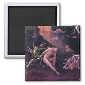 Diptych with scenes of Hell Square Magnet