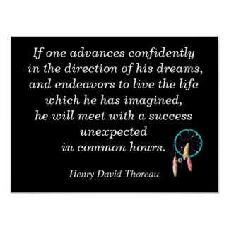 Direction of his dreams - Thoreau quote -art print