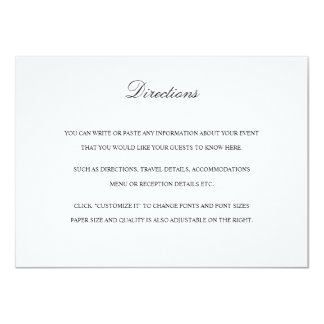 Directions Card with Map in Black & White 11 Cm X 16 Cm Invitation Card