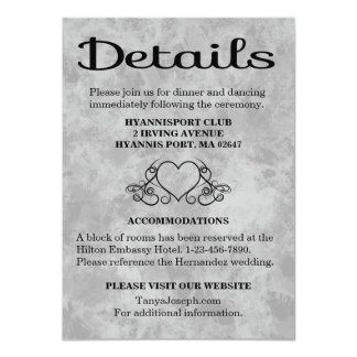 Directions / Details Black & Gray Watercolor Heart 11 Cm X 16 Cm Invitation Card