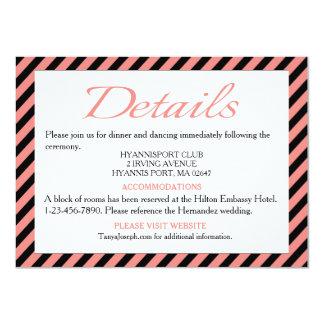 Directions / Details Pink & Black Stripe Wedding 11 Cm X 16 Cm Invitation Card