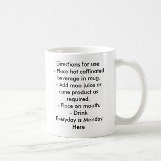 Directions for use:- Place hot caffinated bever... Basic White Mug