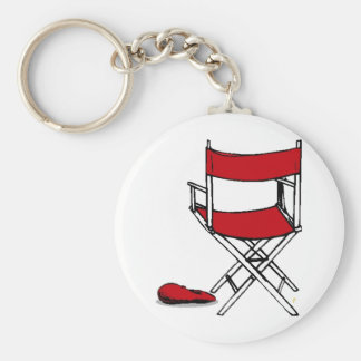 Director's Chair & Hat Basic Round Button Key Ring