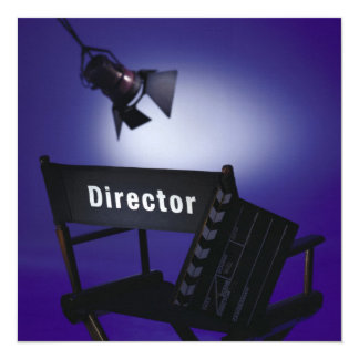 Director's Slate, Chair & Stage Light 13 Cm X 13 Cm Square Invitation Card