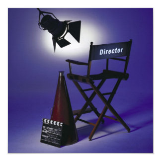 Director's Slate, Chair & Stage Light 2 13 Cm X 13 Cm Square Invitation Card