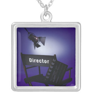 Director's Slate, Chair & Stage Light Silver Plated Necklace