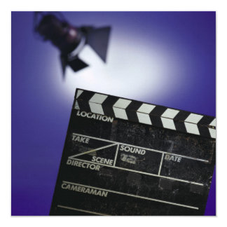 Director's Slate & Stage Light 13 Cm X 13 Cm Square Invitation Card
