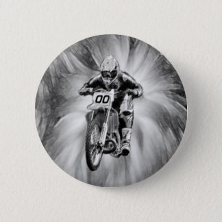 Dirt Bike Blasting Thru Black/White 6 Cm Round Badge