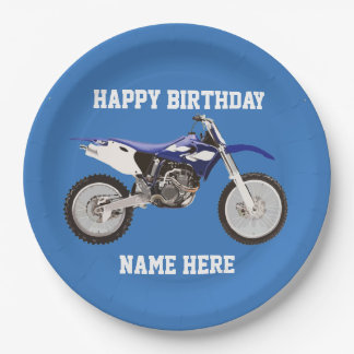 Dirt Bike Blue Birthday Sport Paper Plates 9 Inch Paper Plate