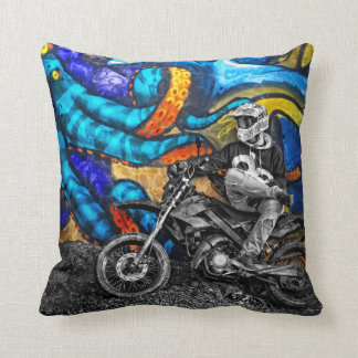 Dirt Bike Graffiti Urban Street Art Cushion