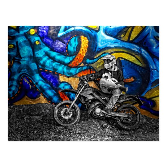 Dirt Bike Graffiti Urban Street Art Postcard