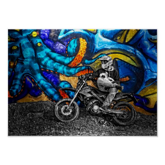 Dirt Bike Graffiti Urban Street Art Poster