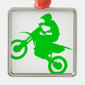 DIRT BIKE (green) Silver-Colored Square Decoration