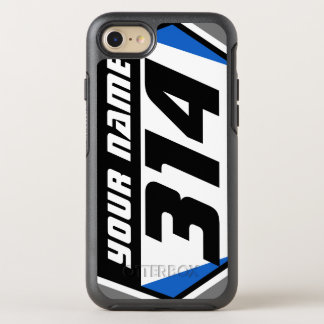 Dirt Bike MX Racing Number - Blue - Black Number OtterBox Symmetry iPhone 8/7 Case