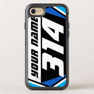 Dirt Bike MX Racing Number - Blue - White Number OtterBox Symmetry iPhone 8/7 Case