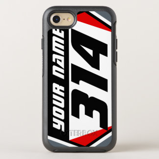 Dirt Bike MX Racing Number - Red - Black Number OtterBox Symmetry iPhone 7 Case