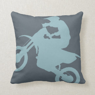 DIRT BIKE ( pale blue ) CROPPED Cushion