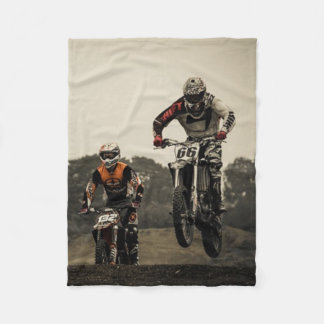 Dirt Bike Race Fleece Blanket