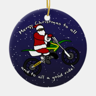 Dirt Bike Santa Christmas Ornament