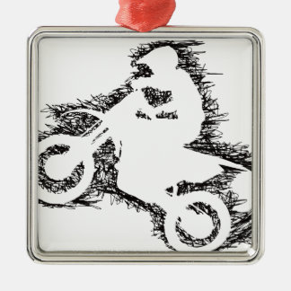 DIRT BIKE (scribble black) Christmas Ornament